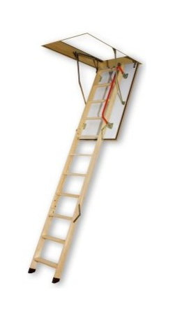 Fakro 10.1 ft. Fire Resistant Wooden Attic Ladder - Safe and easy-to-use the Fakro 10.1 ft. Fire Resistant Wooden Attic Ladder is an excellent choice for gaining access to your attic. This premium wood ladder is constructed for safety and function. This locking ladder folds down easily and a railing along the side ensures safety. About Fakro A privately owned company established in Poland in 1991 FAKRO has grown into one of the most dynamic and fastest growing companies in the world with over a 15% share of the global market and 3 300 employees. Their extensive research and development center produces a wide variety of roof windows with unique design and functionality accessories and the very latest in solar collectors. Their emphasis on health safety security and environmental impact is unmatched. For an expansive range of top-of-the-line products for all imaginable applications look to FAKRO.