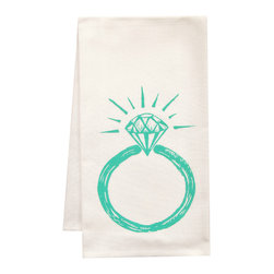 "artgoodies - Organic Ring Tea Towel - This high quality 100% certified organic cotton tea towel was custom made just for artgoodies! Hand printed with one of my original linocut block print images it measures 20""x28"" and comes wrapped in a green ribbon made from 100% recycled plastic bottles! Nice and absorbent for drying dishes, looks great when company is over, and makes a great housewarming gift!"