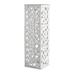 Kathy Kuo Home - Mamounia Global Bazaar White Marble Fret Work Column Pedestal - This intricately hand-carved, white marble pedestal evokes traditional Moorish and Indian motifs with precise patterns and fret work. From the deserts of India, the white marble is exquisitely polished for luxurious luster. The impressive height of the pedestal makes it the perfect place to showcase sculpture and artwork that deserve a place of honor.