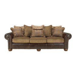 Signature Design by Ashley - Signature Design by Ashley 'Briar Place' Antique Brown Sofa - Spring-filled seats provide long-lasting comfort and support in this Briar Place loveseat. Covered with supple brown leather,this nail head accented seat features antique brown cushions and is decorated with accent pillows and three plush back pillows.