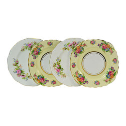 Lavish Shoestring - Consigned 4 Tea Plates with Roses by Colclough and Royal Albert, Vintage English - This is a vintage one-of-a-kind item.
