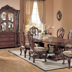 Yuan Tai Furniture - Apache 6 Piece Dining Room Set - AP100T-6SET - Set includes Dining Table, 4 Side Chairs and Hutch/Buffet