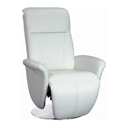 White Line Imports - Swivel Recliner in White - Wipe clean with a dry cloth. Manual relax function and manual headrest function. Flat base. Made from leather. No assembly required. 34 in. W x 30 in. D x 43 in. H (71 lbs.)