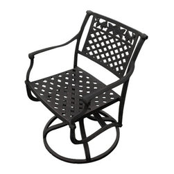 Princeton Cast Aluminum Swivel Rocking Chair - Relax on your patio to the sounds of nature while sitting in the Princeton Cast Aluminum Swivel Rocking Chair. The convenient swivel feature allows for easy turning and is ideal for social gatherings.