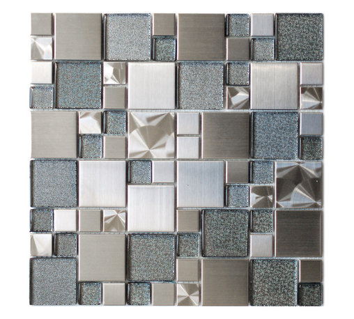 Eden Mosaic Tile - Modern Cobble Stainless Steel With Silver Glass Tile, Sheet - Inspired by the antique cobblestone streets of Europe this metal mosaic stainless steel tile features three different sizes of tile including a large square small square and medium brick but also features clear glass with a silver dotted backing which has a unique reflection. This tile is ideal for stainless steel kitchen backsplashes, accent walls, bathroom walls, and bathroom back splashes. The tiles in this sheet are mounted on a nylon mesh which allows for an easy installation. Imported. Samples are approximately 1/6 to 1/4 of a regular sized sheet. Please note: Sample tiles are not returnable. Only one sample per style is allowed. Only five samples may be ordered.