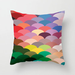 Scale Spectrum Pillow Cover in Warm - Celebrate color with this remarkable fish scale-patterned pillow cover. Whether you love a maritime theme or just love it for its riot of hues, it'll be a bright spot in your home.