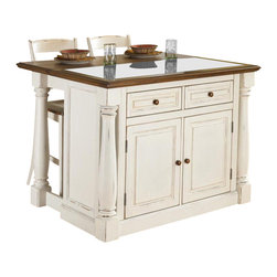 HomeStyles - 3-Pc Kitchen Island Set - Includes kitchen island and two stools. Island with two storage drawers. Storage cabinet with four adjustable shelves. Framed side and back panels. Profiled edges. Black granite inset. Mechanism provides easy mobility and independent movement of the two posts for expansion of the breakfast bar. Made from Asian hardwoods and veneers. Antiqued white finish. Made in Thailand. Assembly required. Seat height: 24 in.. Stool: 17.5 in. W x 21.5 in. D x 41 in. H. Kitchen Island: 48 in. L x 25 in. W x 36 in. HThe monarch kitchen island blends upscale design with state-of-the-art functionality. What makes this island really unique is the hidden sliding mechanism connected to the back two shaped and turned posts. The Monarch Stool perfectly matches the monarch kitchen island.