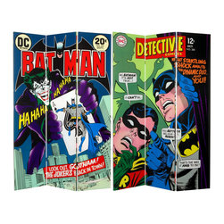 Oriental Furniture - 6 ft. Tall Double Sided Batman and the Joker Canvas Room Divider - Striking limited edition folding floor screen, with the Dynamic Duo of Batman and Robin on one side and The Joker on the other. Original Batman cover art graphics from two early vintage DC Comics book issues, with outstanding color and detail. A bright, bold decorative design accent as well as a lightweight, well-crafted furniture grade accessory.