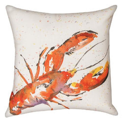 """Manual - Pair of """"Painted Sealife"""" Lobster 18 Inch Indoor / Outdoor Throw Pillows - This pair of 18 inch by 18 inch woven throw pillows adds a wonderful accent to your home or patio. The pillows have (No Suggestions) weatherproof exteriors, that resist both moisture and fading. The pillows have the same print on front and back, a watercolor painting of a lobster. They have 100% polyester stuffing. These pillows are crafted with pride in the Blue Ridge Mountains of North Carolina, and add a quality accent to your home. They make great gifts for sea life lovers."""