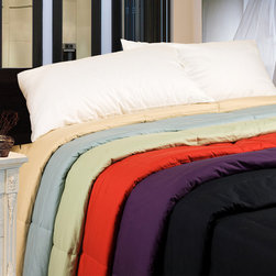 Cottonloft - Cottonloft Colors All-natural Down Alternative Cotton Filled Comforter - This colorful cotton-filled comforter adds a touch of brightness and warmth to your bed. It is also hypoallergenic,so it will keep you from getting sick. Both the fill and outer cover of this comforter are made of all-natural material.