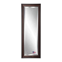 Rayne Mirrors - American Made American Walnut 20 x 59 Slender Beveled Body Mirror - This rectangular tall mirror features a wood frame with a warm dark walnut finish.  Its black undertones make it the perfect choice for both practical use in a bedroom or bathroom or for style in a living room or hallway. Each Rayne mirror is hand crafted and made to order with American products.  All hardware included for vertical or horizontal hanging, or perfect to lean against a wall.