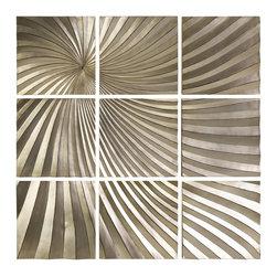 iMax - iMax CK Mukara Leaf 9 Panel Wall Decor X-4941 - Mukkara Leaf 9-panel wall decor is a dramatic play on abstract dimensional art in a serene metallic gold finish.