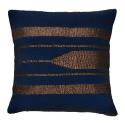 Barn & Willow - Kilim Zari Pillow Cover - Midnight Blue - Inspired by Turkish Kilim, this zari woven Kilim design on cotton base is classic, ornamental and uber gorgeous. Hand crafted with love by artisans in India.