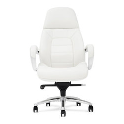 Zuri Furniture - Gates Genuine Leather Aluminum Base Chair, White - Sleek, sharp and professional, our Gates executive desk chair collection shines all the way from its sturdy aluminum swivel base to its supple genuine leather. The ergonomic design and synchronized mechanism create a comfortable workspace, placing your office on the cutting edge of corporate success. In addition, the waterfall seat design eliminates leg fatigue. Available for purchase today in black, dark chocolate, cream and white.