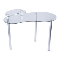 Tier One Designs - Clear Glass Corner Computer Desk with Monitor Stand - 8mm tempered clear glass. Fits great in corners. Easy to assemble. Accommodates a 60 in. flat panel TV. 45.5 in. W x 23.5 in. L x 30 in. H. Assembly instructionsThis modern looking tempered glass corner computer desk is great for any home or office.  With its great design you can put this anywhere to save space.  The whole desk only needs 46 inches of wall space to fit in and gives you a large work area for your computer or laptop.  The monitor stand allows you to save space on the main desk.  Be creative and use the monitor stand anyway you please.   Simple and classy.