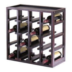 Winsome - Winsome Kingston Modular and Stackable 16 Bottle Wine Cubby in Espresso - Winsome - Wine Racks - 92144
