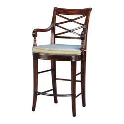 """Theodore Alexander - A Glass of Champagne Bar Chair - A hand carved bar chair, the  lattice back above a caned and tie on silk cushion seat between reeded scroll arms, on sabre legs joined by stretchers and a brass foot rest.  Based on the original Regency design.  Seat Height: 26""""  Arm Height: 36""""  Theodore Alexander upholstery uses the finest quality materials and is hand applied by expert craftspeople to ensure the highest standards in comfort, longevity and style.  Our craftsmen select wood based on beauty, colour and suitability to each individual piece.  We still use traditional furniture making, wood working techniques and materials to ensure enduring quality in every one of our products."""