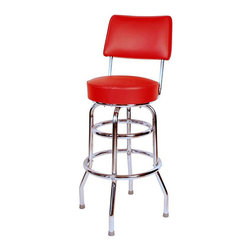 "Richardson Seating - Richardson Seating Retro 1950s 30"" Swivel Bar Stool with Red Seat - Richardson Seating - Bar Stools - 1958RED"