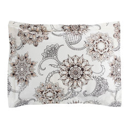 Sin in Linen - Henna Tattoo Pillow Sham - Bring the spice of the middle east into your home with this henna tattoo print. Includes 1 sham.