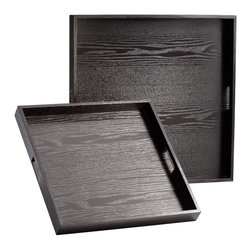 Cyan Design - Cyan Design The James Trays - Pack of 2 X-91250 - This pack of two Cyan Design trays features clean, minimalist style throughout. Variations in size allow you to use these trays together or apart, making them perfect for an array of decorative or functional uses. The simple body of each tray features a wood grain pattern and dark ebony toned finish.