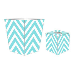 """Marye Kelley - Marye Kelley Aqua Chevron Decoupage Wastebasket with Optional Tissue Box, 11"""" Sq - This is a handmade decoupage wastebasket with optional tissue box.  All items are handmade in the USA.  There are three different styles available.  There is the 12"""" Fluted Tin Design, the 11"""" Square Design with a flat top or the 11"""" Square design with a scalloped top.  Coordinating tissue boxes may also be made. Please note all items are custom made and may not be returned."""