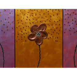 Three Of A Kind (Original) by Don Hester - This is a beautiful piece. The colors are all done in metallic paint. Close to a light will bring out a beautiful array of these colors. The piece is made up of 3 separate canvases each 11x4....overall total is 33 inches wide by 14.  Make this a part of your special wall today.