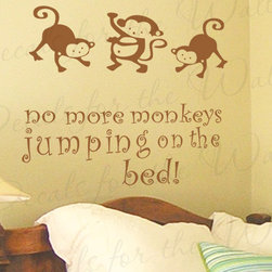 Decals for the Wall - Wall Decal Sticker Quote Vinyl Art Large No More Monkey's Jumping on the Bed B34 - This decal says ''No more monkeys jumping on the bed!''