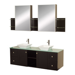 "Wyndham - Avara 60"" Wall-Mounted Double Bathroom Vanity Set - Espresso - Make a statement with the Avara double vanity, and add a twist of the transitional to an otherwise modern classic.; The Avara is the perfect centerpiece to any master bathroom suite, featuring Blum soft close hinges and Blum soft close drawer guides. You'll never hear a door or drawer slam shut again!; Espresso Finish; Counter: Green Glass; Includes white porcelain sink; Includes drain assemblies and P-traps for easy assembly; Includes medicine cabinet mirrors and side shelves; Faucets not included; Dimensions: Vanity 60 x 22-1/4 x 24.5 (including sink); Side Shelves 8-3/4 x 5 x 12; Medic Cab Mirrors 18 x 5-3/4 x 30"
