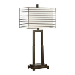 Coaster - Table Lamp, Black - Set of 2 - Fabric shade with a metal outer frame to compliment the open style base finished in black.