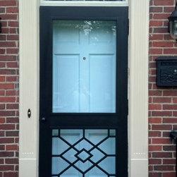 Legacy Chippendale Storm/Sceen Doors - Smithfield Grill Solid Mahogany Storm/Screen Door - www.legacychippendaledoors.com