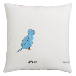 Blue Bird Pillow with Down-Alternative Insert - A simple blue bird make this pillow a winner. It will add a lighthearted element to any room in your home.