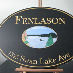 Custom sign examples by Belmeade Signs - Carved wood sign with gold leaf lettering and hand painted lake scene artwork.