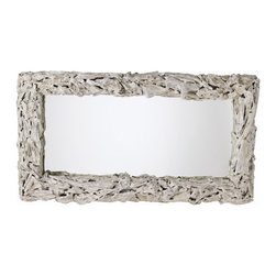 Arteriors - Bodega Mirror - Natural, rugged driftwood whitewashed the color of sea foam gives this mirror a rustic beach cottage charm. Try it behind the dining room table, over the mantlepiece or above the bathroom sink. It can be hung horizontally or vertically.