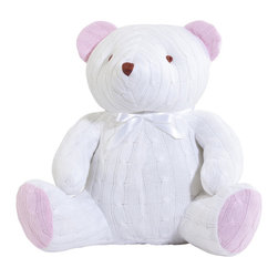 Elegant Baby - On Sale Cable Knit Huge Teddy Bear in Pink & White - Cable Knit Huge Teddy Bear in Pink & White