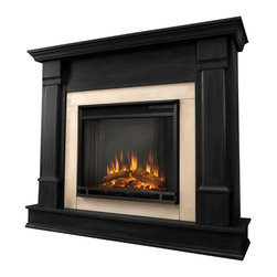 Real Flame - Real Flame Silverton Indoor Electric Fireplace in Black - Real Flame - Electric Fireplaces - G8600EB - Curl up by the comforting glow of the Vivid Flame Electric fireplace anywhere in your home. Ideal for living rooms, family rooms or bedrooms, the free-standing Silverton o ffers clean lines and transitional styling that will add instant ambiance to any home. Available in white, dark mahogany and black. The Vivid Flame Electric Firebox plugs into any standard outlet for convenient set up. The features include remote control, programmable thermostat, timer function, brightness settings and ultra bright Vivid Flame LED technology.