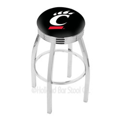"Holland Bar Stool - Holland Bar Stool L8C3C - Chrome Cincinnati Swivel Bar Stool - L8C3C - Chrome Cincinnati Swivel Bar Stool w/ 2.5 Inch Ribbed Accent Ring belongs to College Collection by Holland Bar Stool Made for the ultimate sports fan, impress your buddies with this knockout from Holland Bar Stool. This contemporary L8C3C logo stool has a single-ring chrome base with a 2.5"" cushion and a 3"" chrome ribbed accent ring that helps the seat to ""pop-out"" at glance. Holland Bar Stool uses a detailed screen print process that applies specially formulated epoxy-vinyl ink in numerous stages to produce a sharp, crisp, clear image of your team's emblem. You can't find a higher quality logo stool on the market. The plating grade steel used to build the frame is commercial quality, so it will withstand the abuse of the rowdiest of friends for years to come. The structure is triple chomed to ensure a rich, sleek, long lasting finish. Construction of this framework is built tough, utilizing solid mig welds. If you're going to finish your bar or game room, do it right- with a Holland Bar Stool. Barstool (1)"