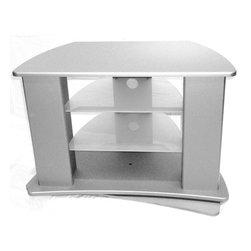 4D Concepts - 4D Concepts Swivel Entertainment Stand in Silver - This large swivel entertainment stand is a great addition for any room in the house. The stand comes with two adjustable glass shelves for your blue ray, DVD player, cable box, etc. The rounded edges give the unit a hi tech look. When you turn to the back side of the unit there is hidden storage with two shelves on both sides for CD/DVD storage behind front panels. The swivel does come with a locking mechanism that stops the TV stand from going back too far. Constructed of composite board and highly durable PVC laminate. Use a dry cloth for cleaning. Assembly is required.