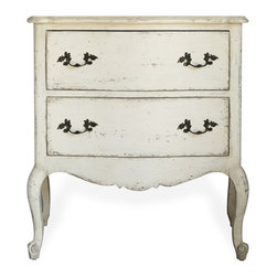 Eloquence - Clementine French Country Old Creme 2 Drawer Nightstand End Table - This handsome Louis XV-inspired nightstand adds shapely style to any bedroom. With deep drawers and curved cabriole legs, the overall statement is one of effortless beauty, married with practicality.
