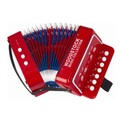 Woodstock Chimes - Woodstock Percussion Kids Accordion Multicolor - WCKA - Shop for Toy Instruments from Hayneedle.com! Accordions have been relegated to polka Weird Al and sea shanties but we think that in the hands of your child the Woodstock Percussion Kids Accordion may just bring this maligned instrument the respect it deserves. They'll have no trouble getting started as all they need to do is throw on the strap thumb through the songbook and start squeezing up a musical storm. About Woodstock Percussion There's a whole world full of affordable fun and easy to play instruments out there and Woodstock Percussion has been bringing them to market since 1979. By adding an element of fun and inspiration into people's lives this family-owned business in the Hudson Valley of New York has turned a love of music and professional performing into a growing American venture that's been winning awards and helping people discover how much fun playing music can be.
