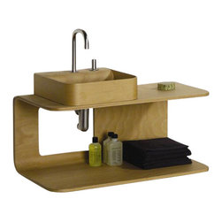 Whitehaus - Whitehaus Aelm085N Aeri Double Shelf Wood - Aeri double shelf wood wall mount structure