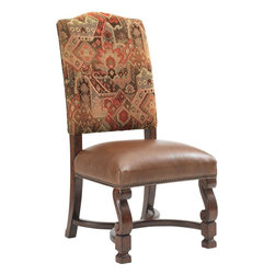 Lexington - Lexington Fieldale Lodge Aspen Side Chair - The Aspen Side Chair is just what you need to bring comfort and casual elegance to your formal dining space. Crafted from select hardwood solids and veneers, this side chair features a rich Kilim pattern back in combination with a saddle-soft leather seat to keep you completely comfortable and supported while you converse and dine with family and friends. Decorative details, such as the antique brass nail head trim, front two legs with an S-scroll pattern, and a shaped base stretcher, elevate the style of the chair to one of rustic sophistication.