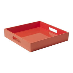 Square Lacquer Tray, Orange - This fun orange tray can be used for many things: serving food to guests, holding magazines or paperwork, starring as a centerpiece on your coffee table, etc.