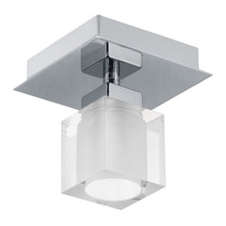 Eglo - Eglo 90117A 1 Light Semi-Flush Ceiling Fixture from the Bantry Collection - (Bul - Eglo 90117A Bantry 1 Light Semi-Flush Ceiling FixtureNot merely a light fixture but an expression of modern art, this semi-flush ceiling fixture from the Bantry Collection features a Cube Shaped Frost Glass shade enclosed in a unique swirled Matte Nickel Finish shade sure to make a bold statement in any room it graces This dynamic fixture can be mounted as a ceiling fixture or a wall sconce.Eglo 90117A Features: