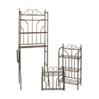 Holly & Martin - Holly & Martin Bronze Olivia 3pc Bath Set - Styled with traditional metal scrolls, this rubbed bronze bath set is a delightful addition to any bathroom. Complete with spacesaver, wall rack, and towel stand, this bath set provides ample storage while keeping everything at arms reach. Each piece has multiple fixed wire shelves and sturdy construction. Solve all your bathroom organization needs with this convenient all in one collection.