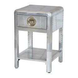 SeventhStaRetail - Aviator Aluminum  SideTable with 1 drawer - Aviator Coffee Table with 1 drawer