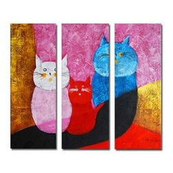Animal Paintings - Two Expecting Cats Oil Painting - Set of 3 - Free Shipping