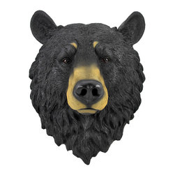 Zeckos - Black Bear Head Mount Wall Statue Bust - This awesome, cold cast resin replica black bear wall mount is a prefect addition to any jungle themed room. The head measures 16 inches tall, 13 inches wide and 7 1/2 inches deep. The detail is incredible, down to the hand painted eyes. This bear's head is Brand New, and makes a great gift for any bear fan or Chicago football fans.