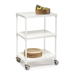 Solid Shelf Serving Cart - This sleek rolling cart has so many possibilities: Roll it into the closet for accessible storage or use it as a minibar for afternoon pick-me-ups.