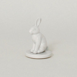 Gentle Rabbit Desk Stamp - We're big believers that letter writing isn't dead. Dress yours up with this handsome porcelain stamp, and give friends and family a unique touch when they read your words. And as it's decorated with a peaceful porcelain rabbit, it's a gorgeous addition to your desktop all the time.