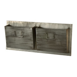 """Linon Home Decor - Linon Home Decor Industrial Metal Two Slot Mailbox - Horizontal X-1-HTOLS2M-WHA - The Horizontal Industrial Mail Slot is perfect for hanging in an entry, hall, mud room or office. The rustic grey design easily complements a variety of color schemes and decor styles. Two 9""""x12"""" slots hold papers, booklets, mail and magazines keeping your space tidy and organized."""